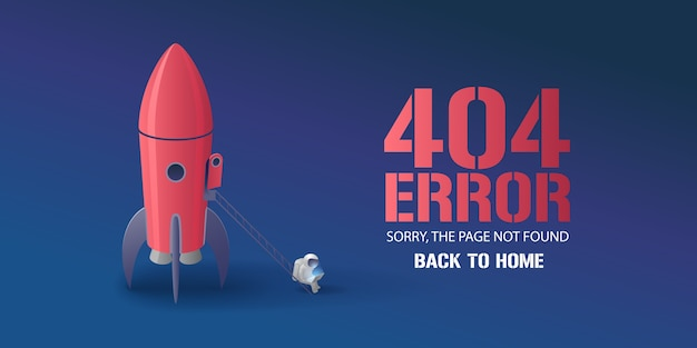 Error page  illustration, banner with not found text. cartoon spaceman with computer background for error  concept web  element