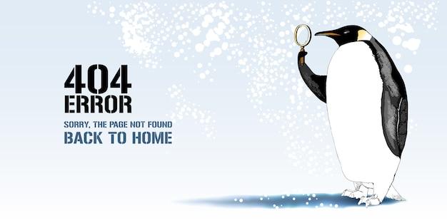 エラーページの図、メッセージが見つからないバナー。エラーコンセプトのwebページの要素のレンズの背景を持つ漫画のペンギン