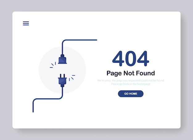 Страница ошибки не найдена баннер с кабелем и розеткой или вилкой шнура для веб-сайта. синий