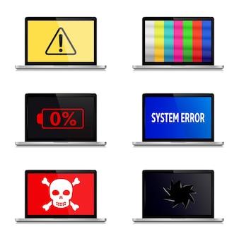Error signs on laptop screens