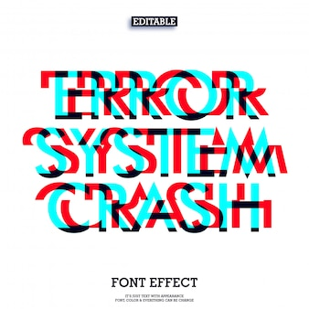 Error system crash font glitch effect