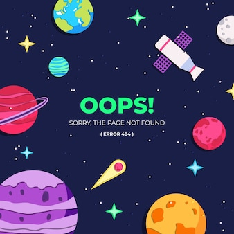 Error template page, space background in paper style.