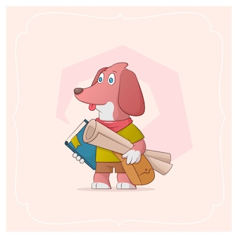An erudite doggie with drawings and books in hand. vector illustration from a series funny pets