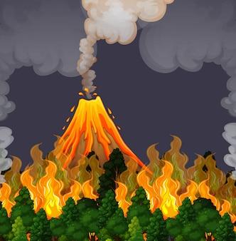 Erupting volanco and fire scene