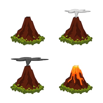Erupting volcano with lava in flat style