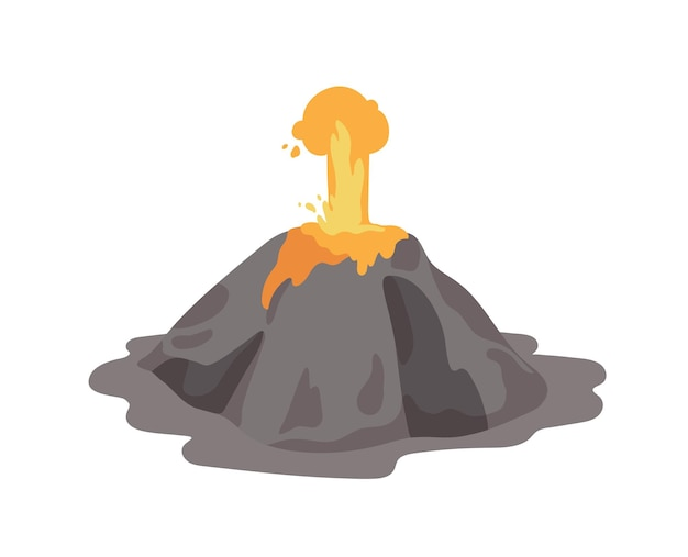 Erupting volcano with lava fountain ejecting from a crater isolated on white background. volcanic eruption and seismic activity. natural catastrophe. colored vector illustration in flat cartoon style.