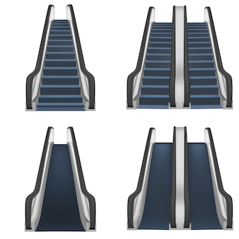 Escalator elevator stairs lift mockup set. realistic illustration of 4 escalator elevator stairs lift mockups for web