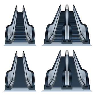 Escalator icon set, realistic style