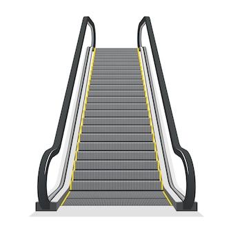 白い背景で隔離のエスカレーター。近代建築の階段、エレベーター、エレベーター、