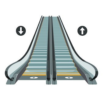Escalator moving staircase with arrows showing way of movement up and down.