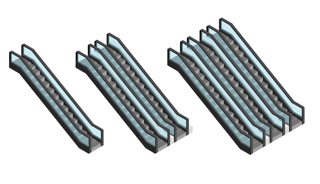 Escalator set isometric view. passenger going up and going down. stairs for public places.