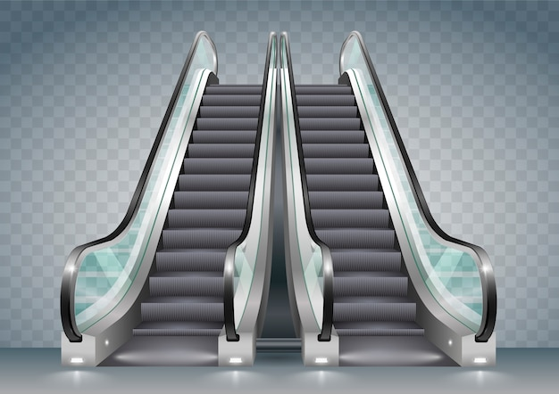 Escalator with clear glass