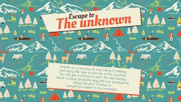 Banner di campeggio vacanza modello di viaggio escursionistico di fuga