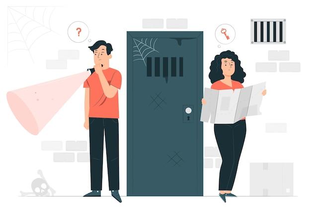 Illustrazione di concetto di camera di fuga