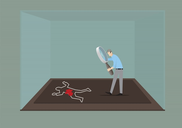 Escape room game concept. man with magnifying glass investigating the crime scene.