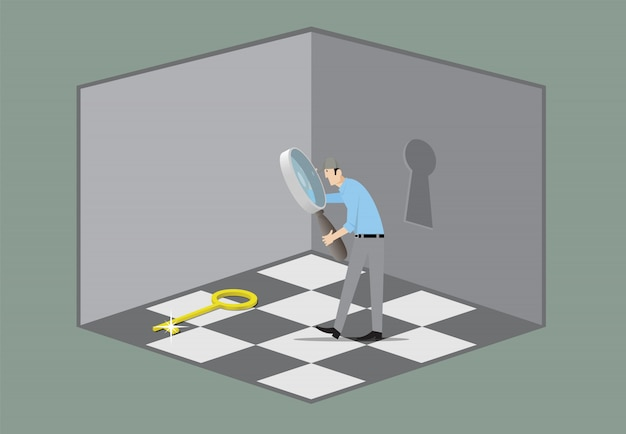 Escape room game concept. man with magnifying glass searching key that opens the door.