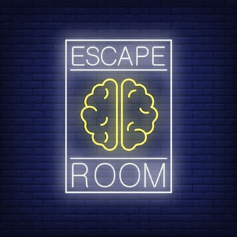 Escape room neon sign. text and brain in frame on brick wall . glowing banner or billboard elements.