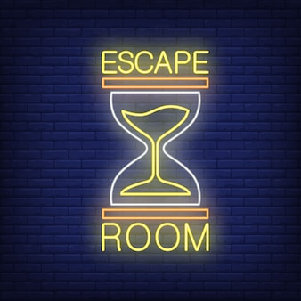 Escape room neon sign. text and sandglass on brick wall