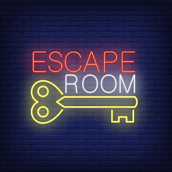 Escape room neon sign. vintage key and text on brick wall . glowing banner or billboard elements.