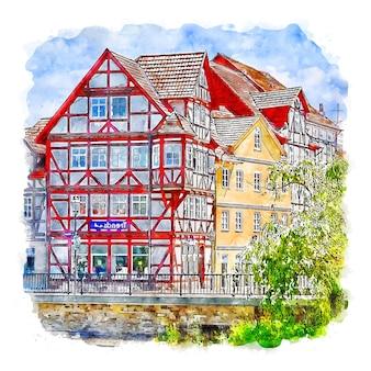Eschwege 독일 수채화 스케치 손으로 그린 그림