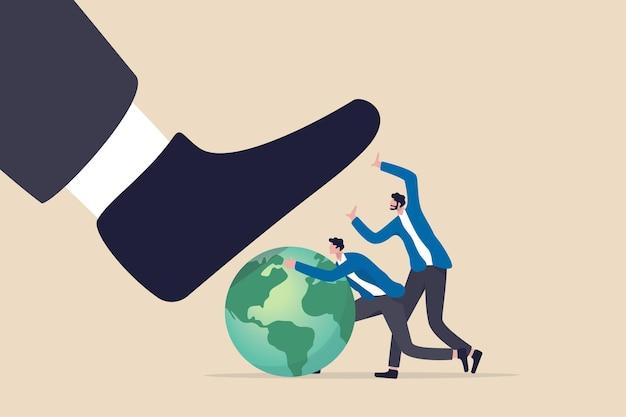Esg、環境、社会、企業統治は、世界または持続可能性と責任の概念を保護し、企業の男性が一緒になって、悪者が踏み台を破壊するのを防ぎます。