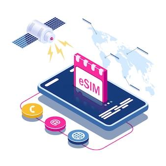 Esim карты чип знак. концепция встроенной sim-карты. спутник на фоне карты мира