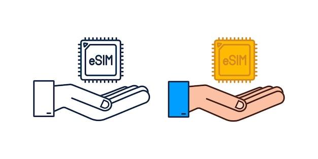 손 아이콘 기호 개념이 있는 esim 임베디드 sim 카드 새로운 칩 모바일 셀룰러