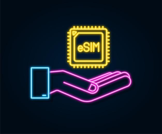 손 아이콘 기호 개념 새로운 칩 모바일 esim 임베디드 sim 네온 카드