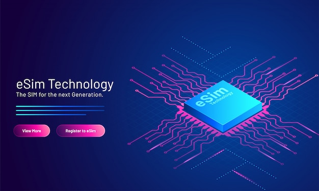 Esim technology  based landing page  with embedded sim card on blue .