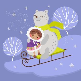 エスキモーベアアラスカガール冬の子コミックおかしい動物フラットデザイン漫画手描きベクトルイラスト印刷用