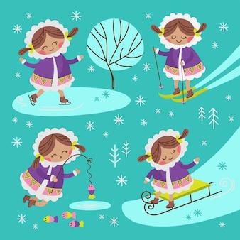 Eskimogirlアラスカ冬の子供キャラクターコミック面白いフラットデザイン漫画手描き