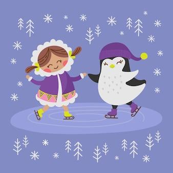 エスキモーの女の子とペンギン。アラスカコミックファニーアニマル。フラットデザイン漫画手描きイラスト