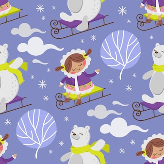 Eskimo girlbear冬の子コミック面白いフラットデザイン漫画手描きのシームレスなパターンベクトルイラスト印刷用