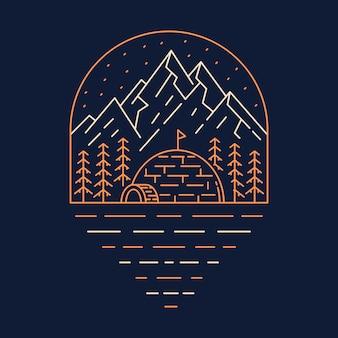 손으로 그린 숲 한가운데에 에스키모