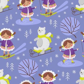 エスキモースケッチ冬アラスカガールコミックおかしい動物フラットデザイン漫画手描きシームレスパターンベクトルイラスト印刷用