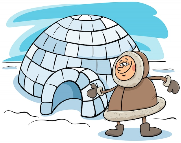 Eskimo with igloo cartoon illustration
