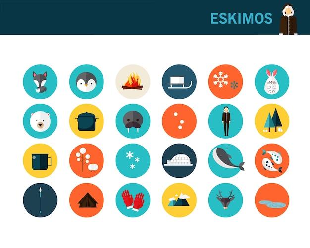 Eskimos concept flat icons.