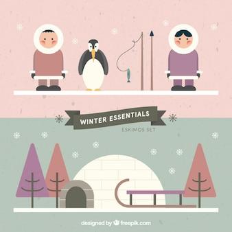 Eskimos in flat design