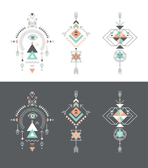 Esoteric, alchemy, sacred geometry, tribal and aztec elements