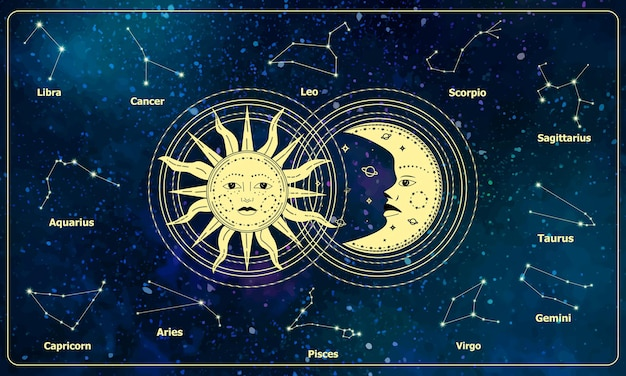 Esoteric crescent moon and sun with moon on zodiac constellation background. magic banner for astrology, divination, magic, taro, pattern, wallpaper. vector