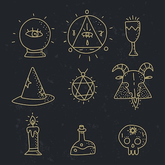 Esoteric doodle elements vector set isolated on a black background.