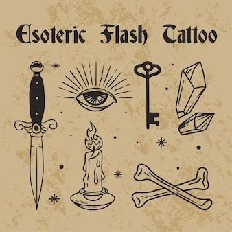 밀교 플래시 문신 디자인 일러스트 레이션