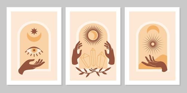 흰색 배경에 격리된 뱀, 달, 별이 있는 밀교적인 마법의 손. 신비로운 점성술 벡터 평면 그림입니다. 카드, 포스터, 초대장, 스파를 위한 단순한 여성 로고 디자인