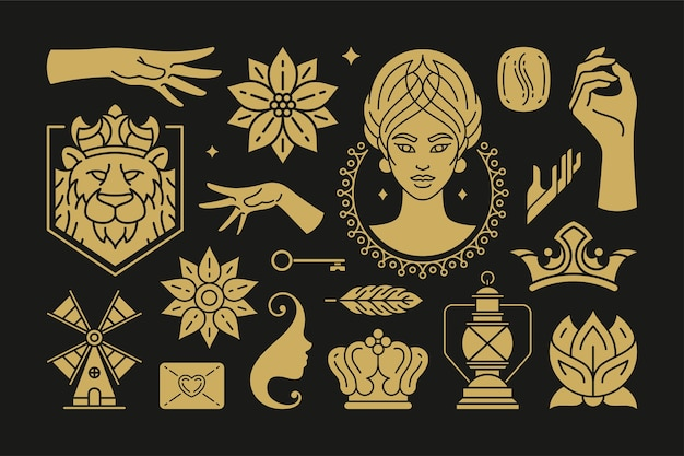 Esoteric magic and witch design elements set with female hands gestures