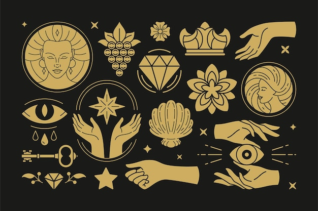 Esoteric magic and witch vector design elements set with female hands gestures