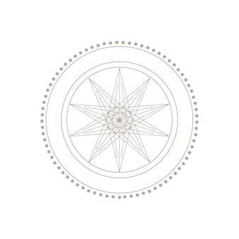 白い背景で隔離の秘教の精神的な幾何学