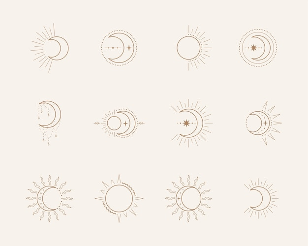 Esoteric symbols with moon and sun. celestial sings.  illustration in boho style