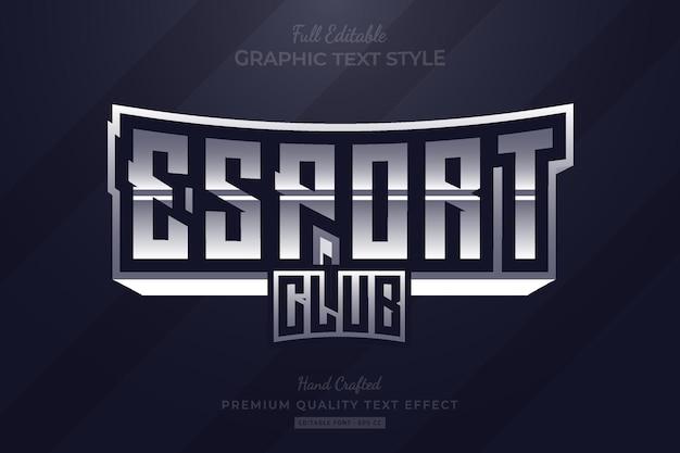 Стиль шрифта с редактируемым текстовым эффектом премиум-класса с серым редактируемым текстовым эффектом esport club Premium векторы