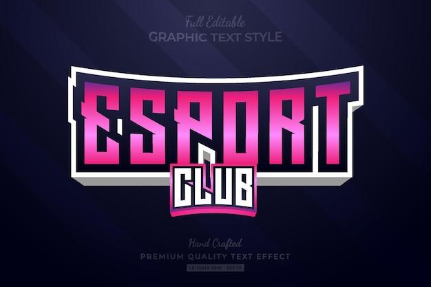 Esport club team editable premium text effect