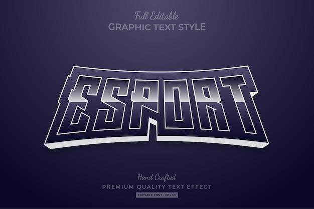 Редактируемый эффект стиля текста esport dark premium